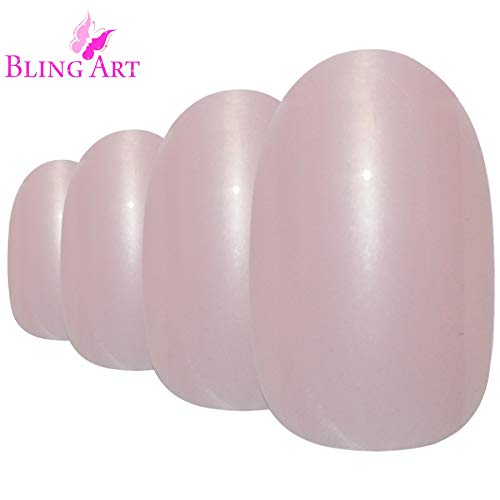 (Bling Art Oval False Nails Pearlised Pink French Manicure Fake Medium Tips with Glue)
