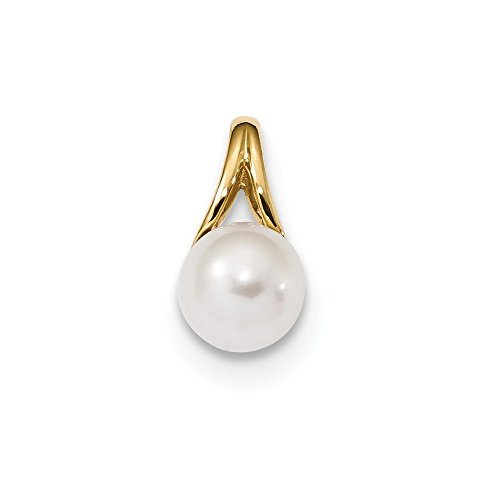 - 14k Yellow Gold 8mm White Freshwater Cultured Pearl Pendant Charm Necklace Fine Jewelry Gifts For Women For Her