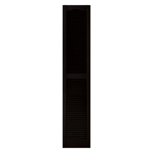 Builders Edge 12 in. x 72 in. Louvered Vinyl Exterior Shutters Pair in #002 Black Size: 12 in. W x 1 in. D x 72 in. H (6.8 lbs.) Color: Black, Model: 10120072002, Outdoor & Hardware Store - Shutters 002 Black Builders Edge