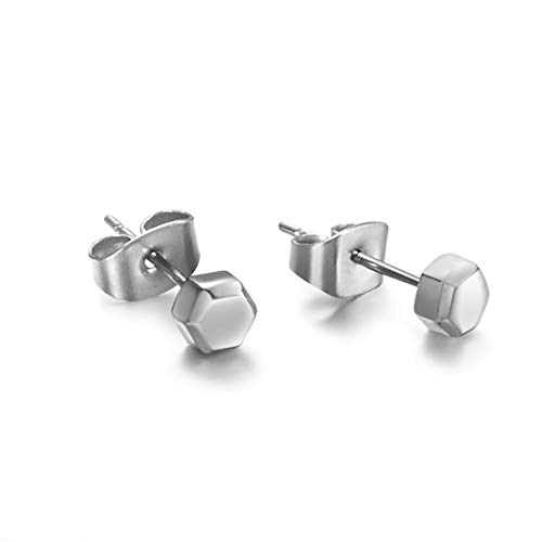 TGNEL Titanium Tiny Hexagon Stud Earrings Hypoallergenic for Women Girls High Polished (TIE048-5mm)