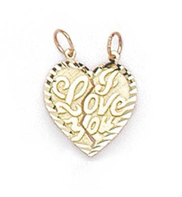 Or 14 ct break-apart Pendentif Coeur I Love You