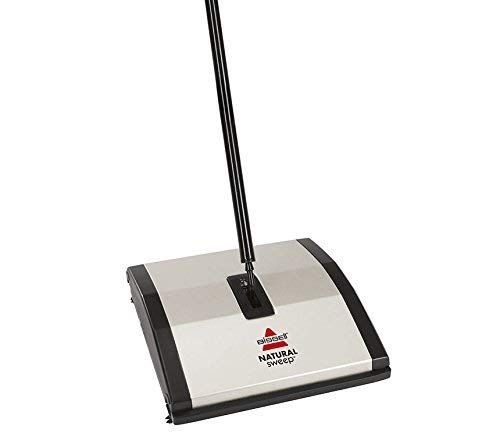 (Bissell Natural Sweep Carpet and Floor Sweeper with Dual Rotating System and 2 Corner Edge Brushes, 92N0A, Silver)