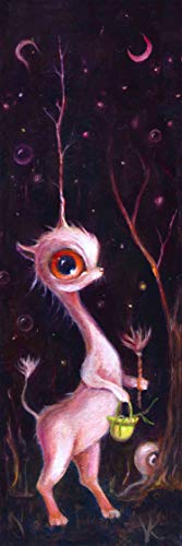 Unicorn in Magical Forest Art Print, Whimsical Pop Surrealism Decor, mat available -