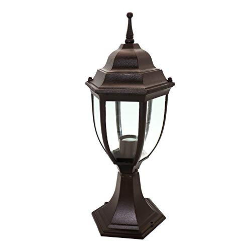 (OSTWIN 1-Light Outdoor Garden Post Lantern L04 Lighting Fixture, Traditional Post Lamp Patio with One E26 Base, Water-Proof, Bronze Cast Aluminum Housing, Clear Glass Panels, ETL)