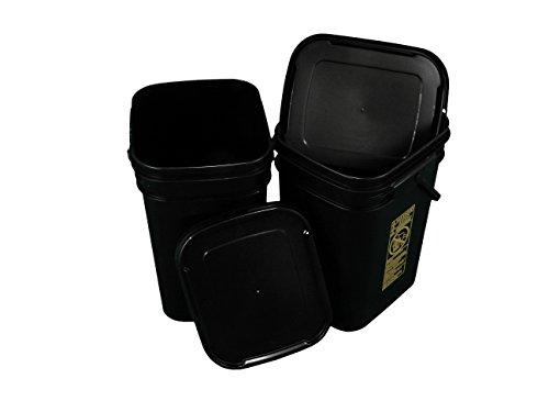 Dimensions 5 Gallon Bucket (Black Rectangular Bucket 5.3-Gallon Bucket with Black Snap-on Lid, 2 Pack)
