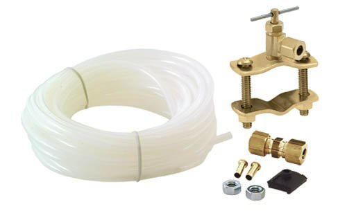 Polyethylene Tube Ice Maker Install Kit - Includes 25 Foot Poly Tube self piercing saddle valve & 1-4 inch brass Union
