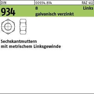 Muttern Linksgewinde Din 934//8 M 18 NEU 1 Stück