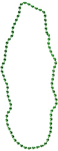 Green Metallic Bead Necklace, Party Accessory, 48 Ct.