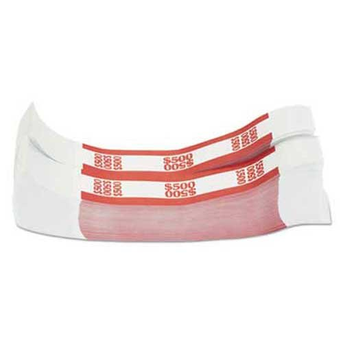 Coin-Tainer Currency Straps, Red, 500 in $5 Bills, 1000 Bands/Pack