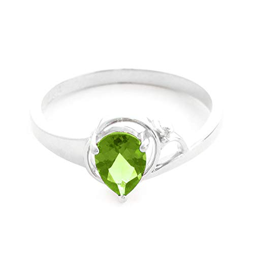 (0.66 Carat 14k Solid White Gold Ring with Natural Pear-Shaped Peridot and Genuine Diamond - Size 8.5)
