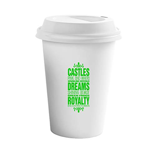 Style In Print Green Castle Pink White Sparkling Crystals Shining Armor Ceramic Coffee Tumbler Travel Mug