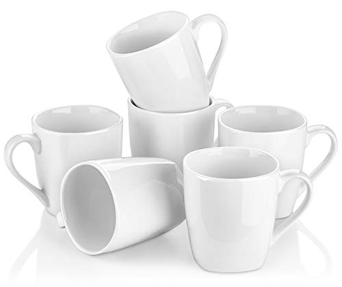 Y YHY Porcelain Coffee Mugs, 10 Ounces White Mugs for Cappuccino, Tea, Cocoa, Set of 6, Rounded Square Mouth
