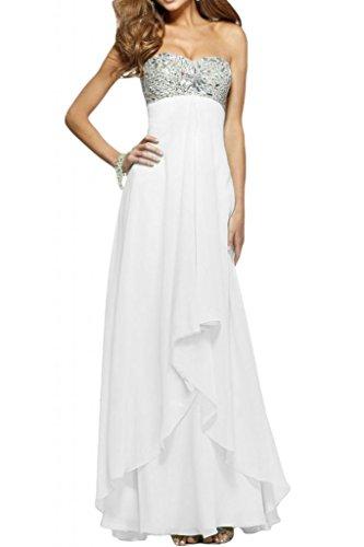 Dibujos en forma de corazón de la Toscana de novia de Gasa de noche vestidos de fiesta de fútbol duro de largo vestidos de madrinas blanco