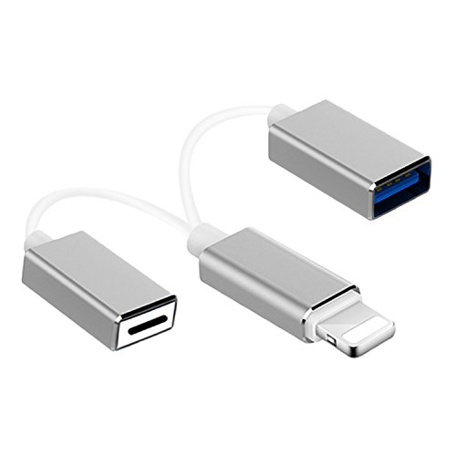 dyplay for 2 in 1 Lightning Cable Male to Female USB OTG Adapter to Female Lightning Charging Extension Cable for iPhone/iPad/iPod iOS 11 with Piano Microphone Audio Interface Keyboard (Silver) by dyplay