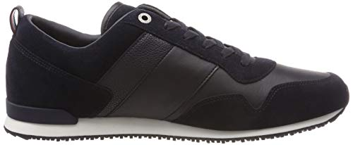 Iconic midnight Tommy Basses Hilfiger 403 Runner Mix Leather Suede Homme Sneakers Bleu pqfWq5