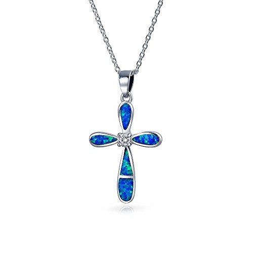 (Blue Created Opal Inlay Cross Pendant Cubic Zirconia CZ Necklace For Women 925 Sterling Silver 18 In Chain)