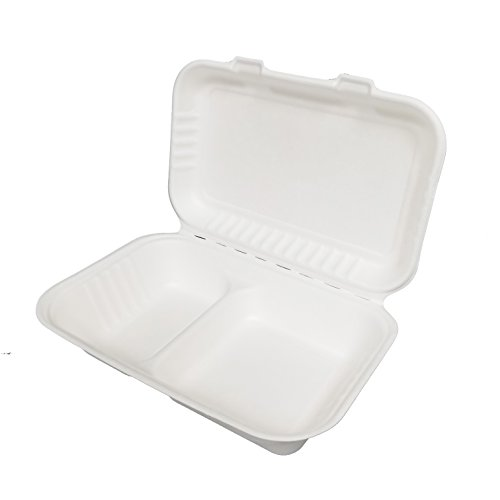 - Earthable- Eco-Friendly, 100% Compostable, Renewable and Recyclable, with Sugarcane Fiber Heavy Duty Disposable Take Out Container Clamshell Boxes (125 Piece, 9