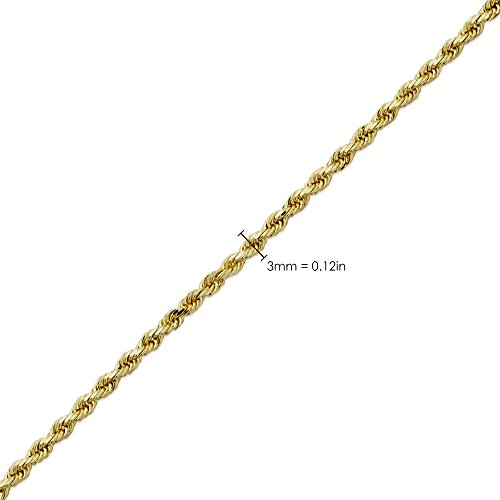 LoveBling 14K Yellow Gold 3mm 26'' Solid Diamond Cut Rope Chain Necklace with Lobster Lock by LOVEBLING (Image #4)