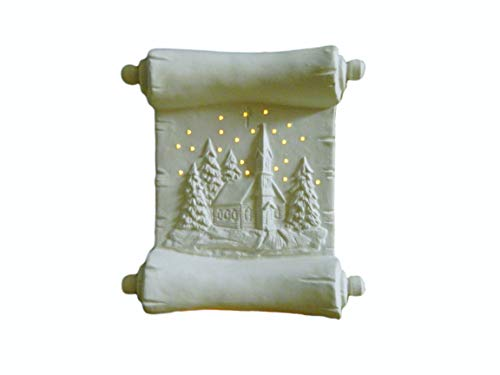 (Illuminated Christmas Scroll Winter Scene Night Light - Ready to Paint Ceramic Bisque - Hand Poured in The USA (with White Clip in Light))