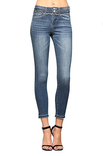 Vervet Jeans by Flying Monkey Mid Rise Double Button Ankle Skinny with Released Hem (28, Blue)