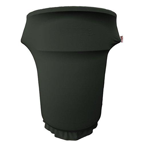 LA Linen SpandexCover55Gwheels_BlackX24 Spandex Cover Fitted for 55 Gallon Trash can on Wheels, Black