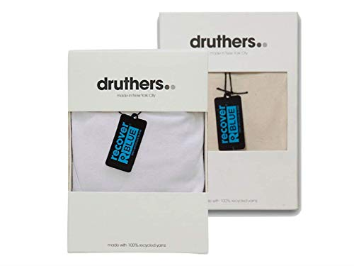 DRUTHERS Trunks Underwear for Men/Made in USA/Eco Friendly+Sustainable Fabric (Large, 2 Pack Natural/White) ()