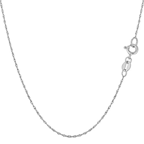 10k White Gold Rope Chain Necklace, 0.5mm, 16