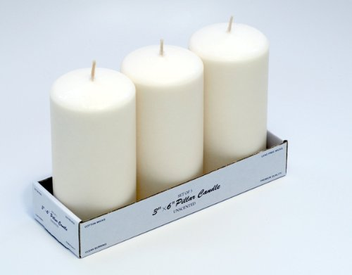 Candles4Less - 3 x 6 inch Ivory Pillar Candles (Bulk/36 Pcs), Unscented Ivory Pillar Candles with Lead Free Cotton Wicks, Dripless and Smokeless