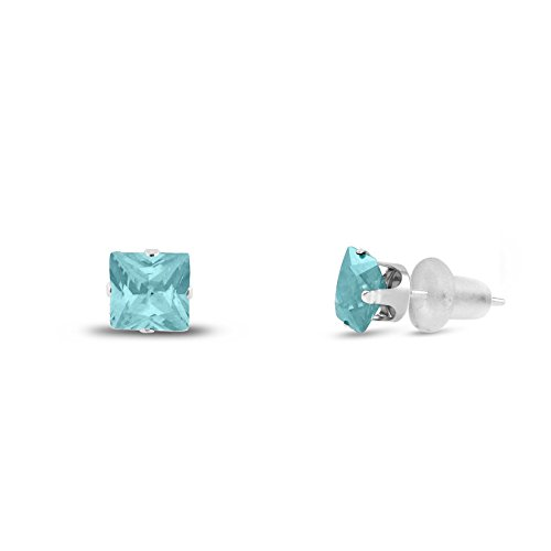 Square Aquamarine 3 Stone Ring - 3x3mm Square Princess Cut Aqua Blue CZ Solid 10K White Gold 4-Prong Set Baby Stud Earrings