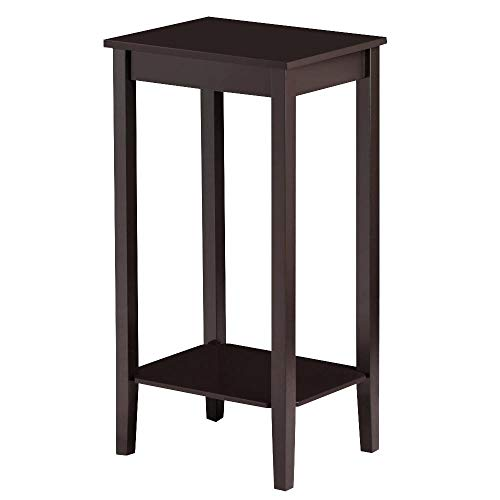 Topeakmart Tall Side Coffee End Table Solid Wood Nightstand Bedside Table Living Room Sofa Table