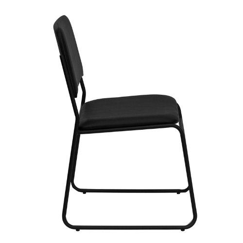 Flash Furniture HERCULES Series 1000 lb. Capacity High Density Black Vinyl Stacking Chair with Sled Base