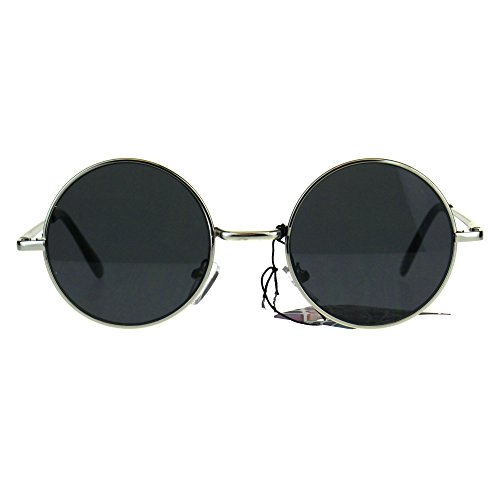 Flat Panel Classic Round Circle Lens Hippie 70s Sunglasses Silver - Sunglasses Mens 1970s