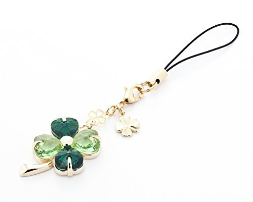 Cell phone Strap 030 four-leaf clover - (Emerald + peridot) Gold Court by Kisaragi