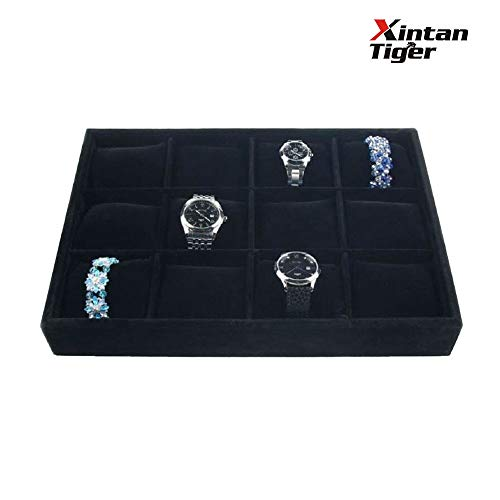 (Xintan Tiger Jewelry,Watch Tray 12 Slots Jewelry Tray Velvet Watch Display Box Jewelry Watch Box Jewelry Trays Stackable)