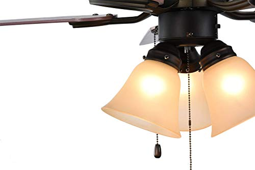 Retro Bronze 42-inch Ceiling Fan with 3 Lights and Reversible 5 Blade, Pull Chain Control Low Profile 3 Lights Fixture Super Noiseless Blade Ceiling Fans for Home