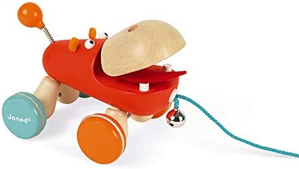 Janod Zigolos Pull Along Hippo Early Learning and Motor Skills ToyWobbly Non-Skid Wheels and Bell Made of FSC Certified Beech and Cherry Wood for Ages 12 Months+
