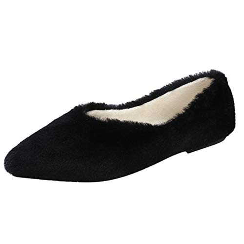 ANJUNIE Women's Casual Warm Slip On Loafers Ladies Pointed Toe Flat with Shoes Sneaker