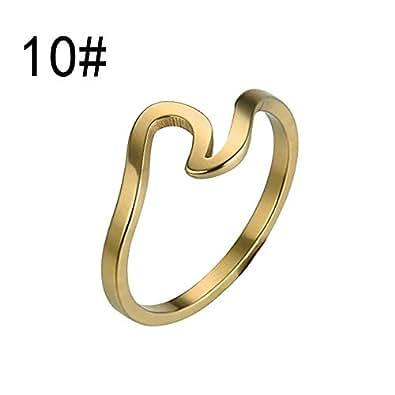 Amazon.com | Mysky Wave Ring Wedding Ring for Women