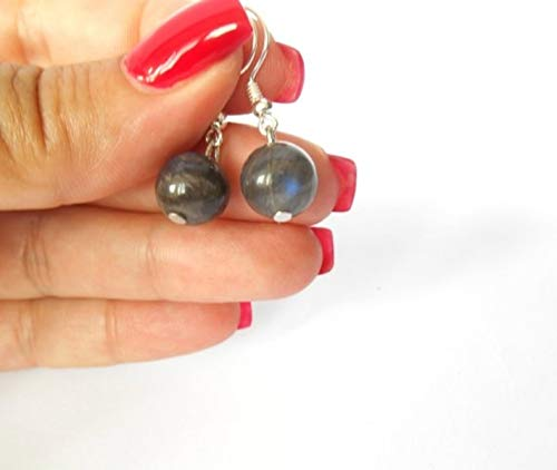 Pooja Gems 8mm Multi Colour 1.18 inches (3cm) Natural Agate Stone Earrings (Grey Labradorite)