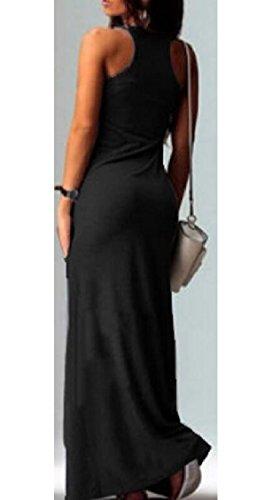 Vest Print Racerback Dress Maxi Black Tank Boho Cat Long Sleeveless Women's Jaycargogo fAnwpqEzw