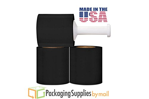 Cast Bundling Black Stretch Wrap Film 5 Inch x 80 Gauge x 1000 Feet 12 Rolls/Case (Film Black Stretch)