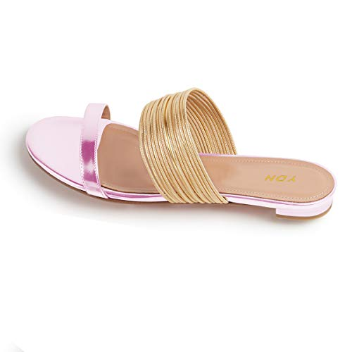 YDN Women Fashion Open Toe Low Heel Mules Sandals Slip on Clogs Slide Shoes Pink 10 by YDN (Image #3)
