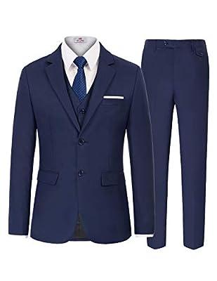 PAUL JONES Men's Slim Fit 3 Piece Suit One Button Down Blazer Vest Pants Set