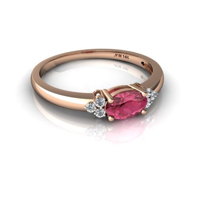 14kt Gold Pink Tourmaline and Diamond 6x4mm Oval Simply Elegant Ring