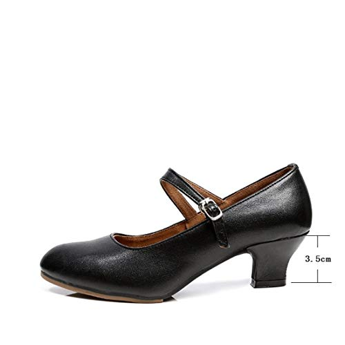 Female Leather Square Adult Soft Female Shoes WXMDDN Shoes Dancing Dancing Square Bottom Dance Adult Summer Dance Latin Black Shoes Female Ballroom vwxFxC8q