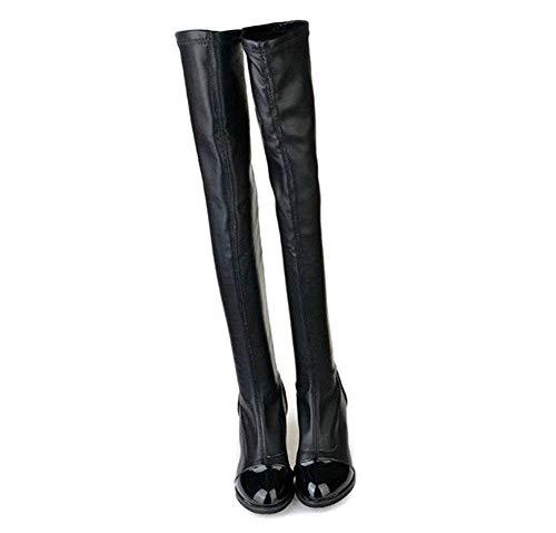 Pu Eu De negro Color Moda 40 Deed Rodilla Botas Elásticas Ocasionales La A Señora Eu 39 qw74gA