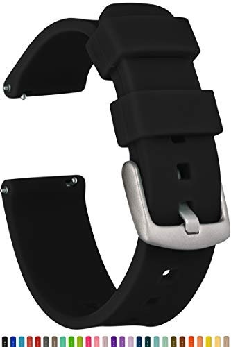 GadgetWraps 22mm Silicone Watch Band Strap with Quick Release Pins - Compatible with Fossil, Pebble, Samsung - 22mm Quick Release Watch Band (Black, 22mm) (Replacement Watch Strap)