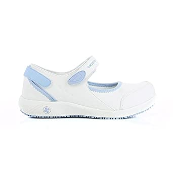 Oxypas Move Up Salma Slip-resistant, Antistatic Nursing Shoes, White/Purple (Liliac), 8 UK (42 EU)