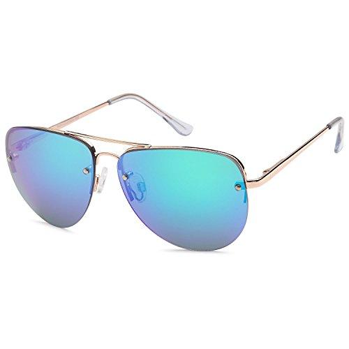 CATWALK Sun Lounger Series Women's Oversized Aviator Sunglasses - Mirror Teal Lens on Gold Frame -