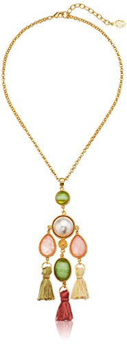 Ben-Amun Jewelry Spring Blush Oval Stone Silk Tassel Pendant Necklace